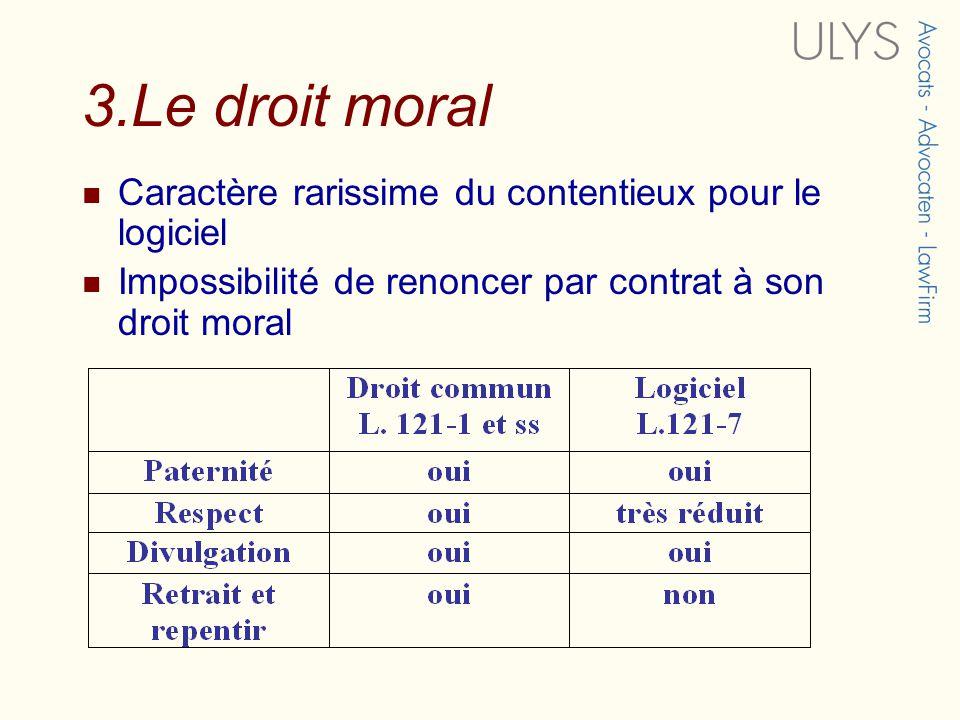3.Le droit moral Caractère rarissime du contentieux pour le logiciel Impossibilité de renoncer par contrat à son droit moral