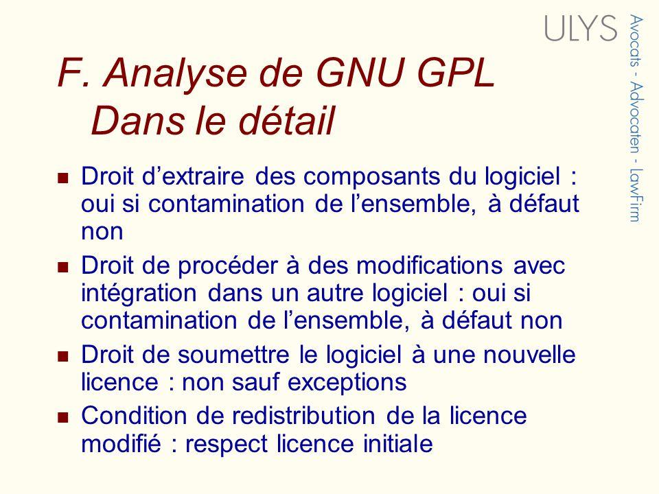 F. Analyse de GNU GPL Dans le détail Droit dextraire des composants du logiciel : oui si contamination de lensemble, à défaut non Droit de procéder à