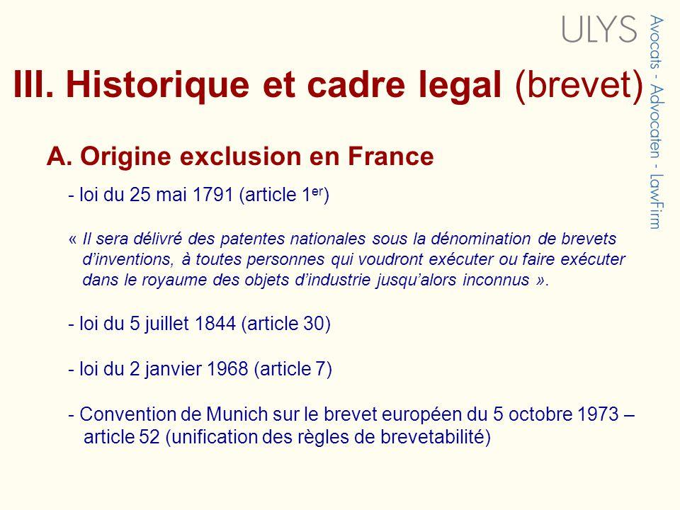 III.Historique et cadre legal (brevet) A.