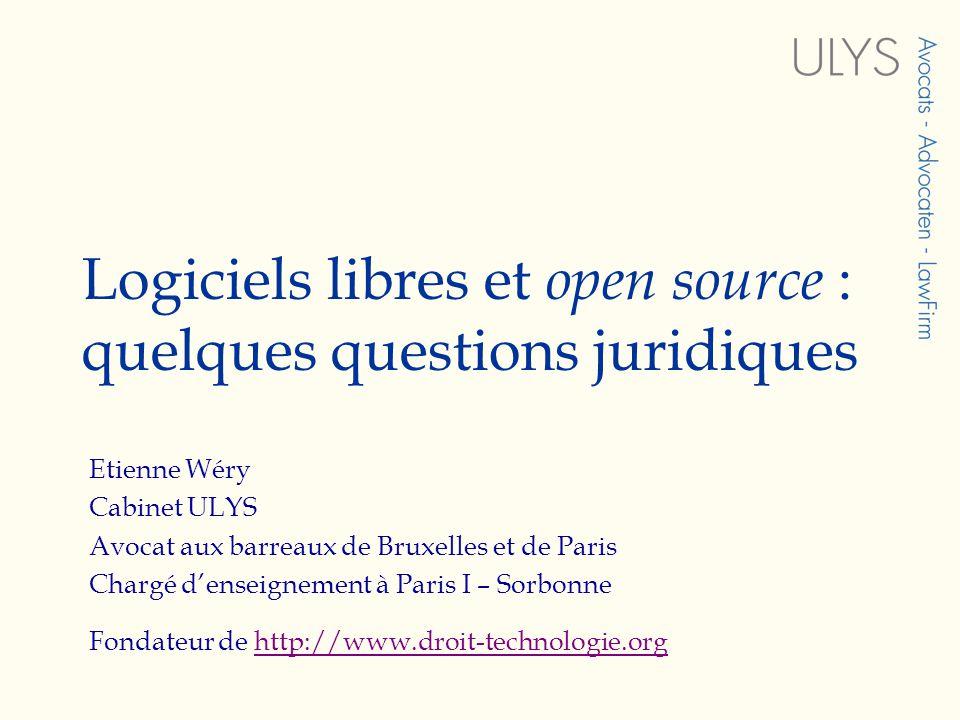 Logiciels libres et open source : quelques questions juridiques Etienne Wéry Cabinet ULYS Avocat aux barreaux de Bruxelles et de Paris Chargé denseignement à Paris I – Sorbonne Fondateur de http://www.droit-technologie.orghttp://www.droit-technologie.org