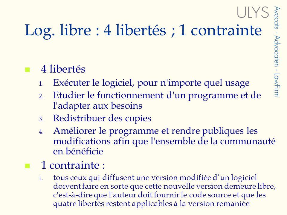 Log.libre : 4 libertés ; 1 contrainte 4 libertés 1.