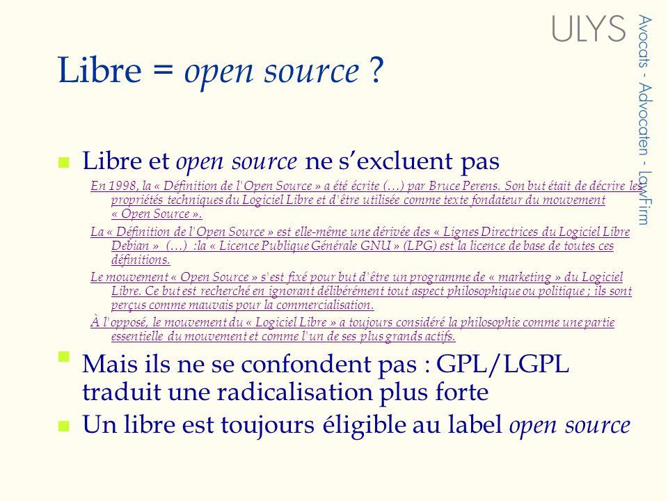 7) Droit de soumettre le logiciel à une nouvelle licence OUI, mais peu clair car par extrapolation du § 1 OUI ou NON, selon les clauses.