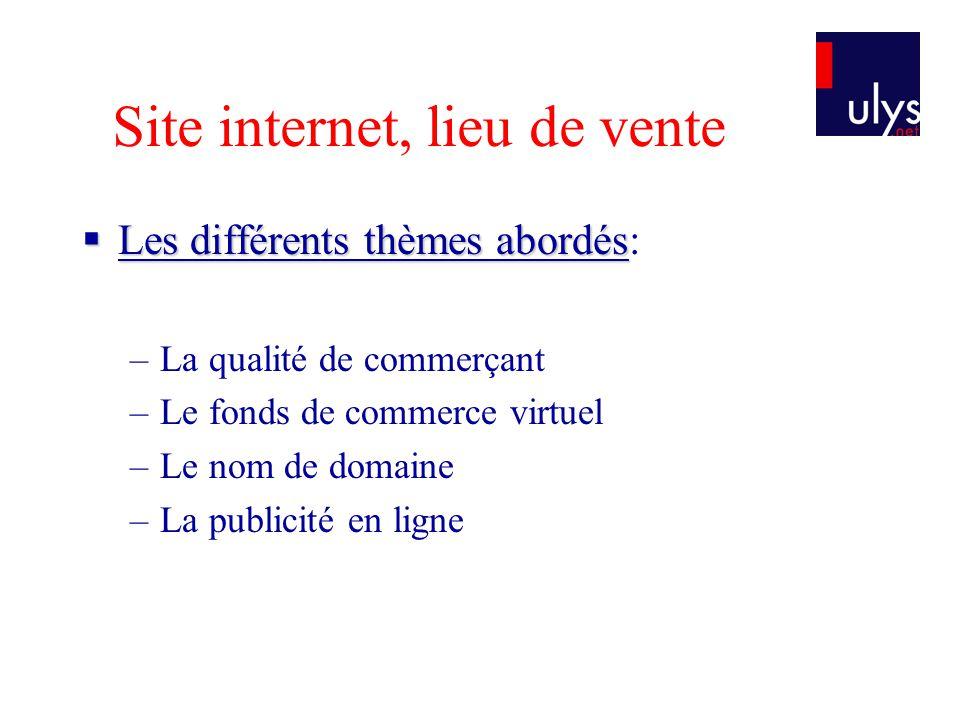 Site internet, lieu de vente Les différents thèmes abordés Les différents thèmes abordés: –La qualité de commerçant –Le fonds de commerce virtuel –Le nom de domaine –La publicité en ligne