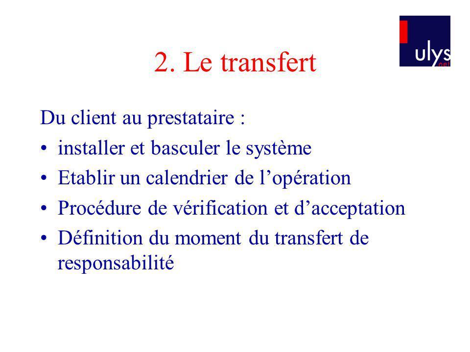 2. Le transfert Du client au prestataire : installer et basculer le système Etablir un calendrier de lopération Procédure de vérification et dacceptat