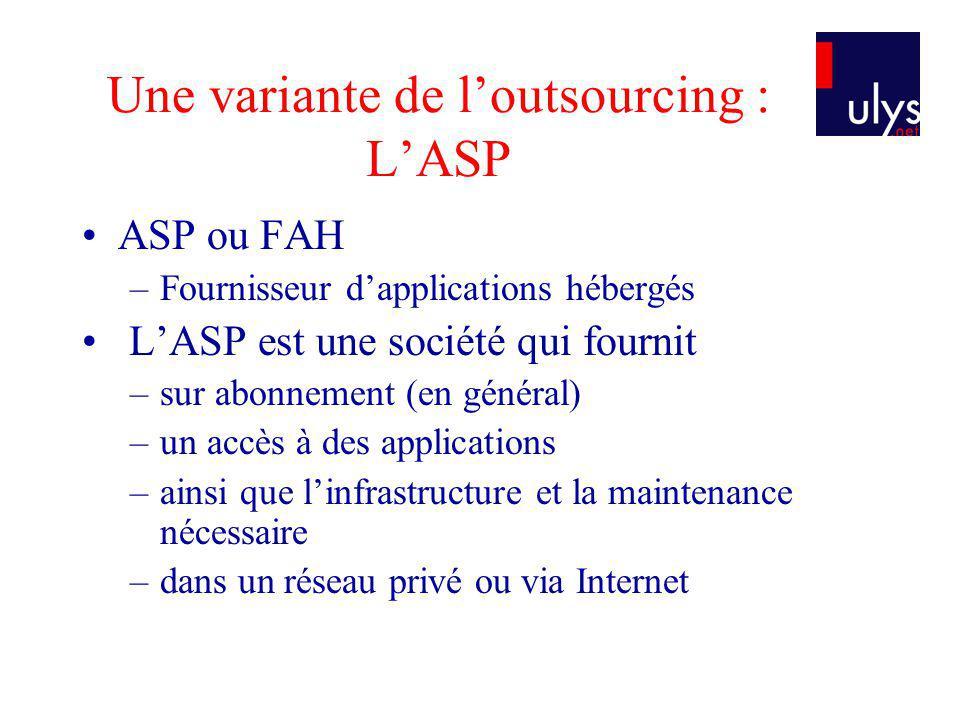 ASP / OUTSOURCING CLASSIQUE Pas de transfert de personnel Plus haut niveau de maintenance Fournit principalement des applications standards Le hardware appartient à lASP Le hardware est physiquement situé chez lASP : lASP fournit au client un accès à son infrastructure IT