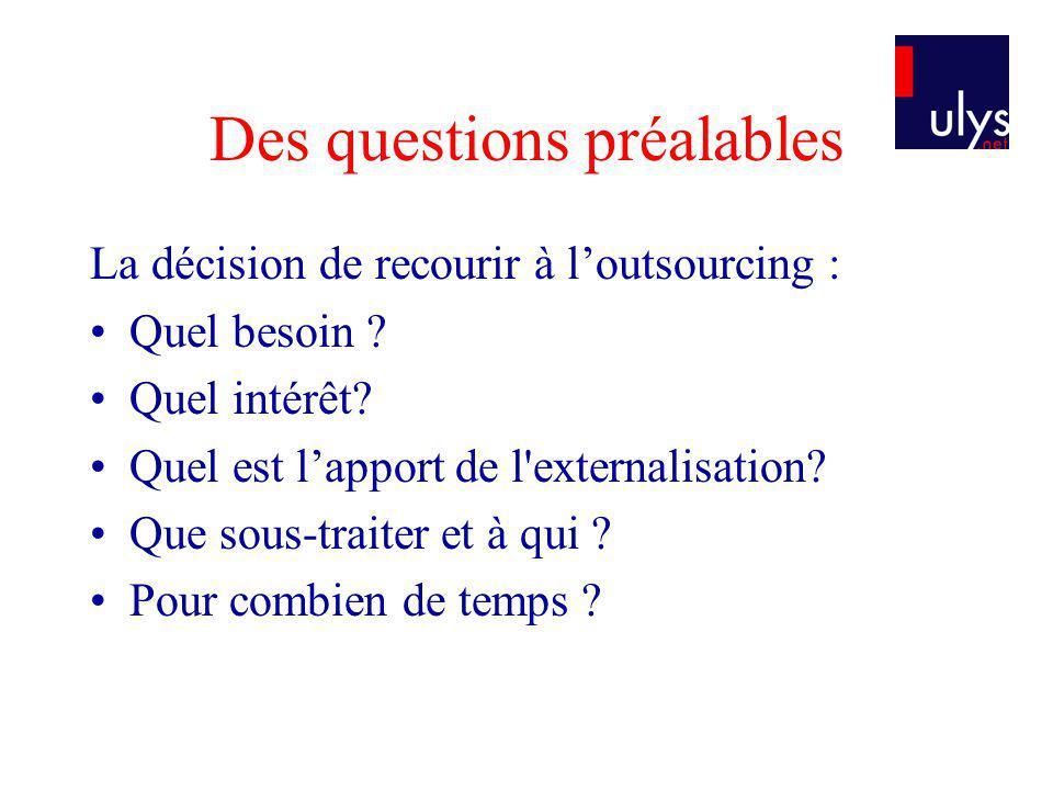 Des questions préalables La décision de recourir à loutsourcing : Quel besoin ? Quel intérêt? Quel est lapport de l'externalisation? Que sous-traiter