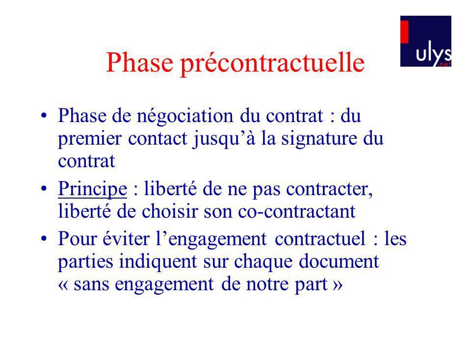 Phase précontractuelle Phase de négociation du contrat : du premier contact jusquà la signature du contrat Principe : liberté de ne pas contracter, li