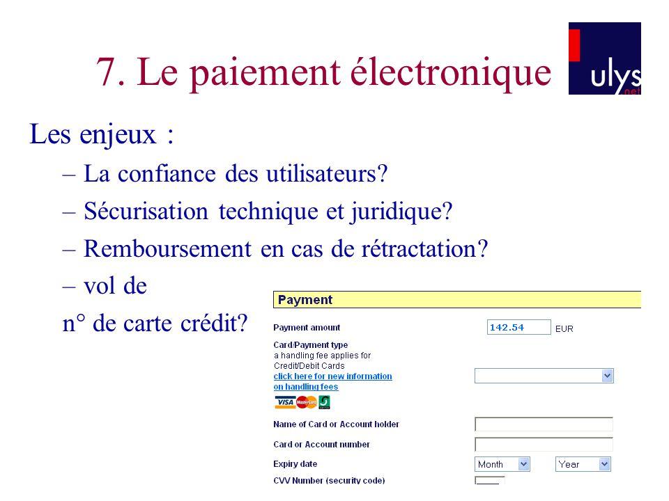 7. Le paiement électronique Les enjeux : –La confiance des utilisateurs? –Sécurisation technique et juridique? –Remboursement en cas de rétractation?