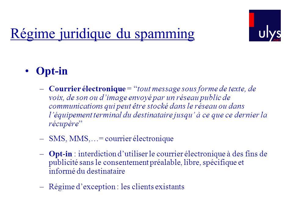 Régime juridique du spamming Opt-in –Courrier électronique = tout message sous forme de texte, de voix, de son ou dimage envoyé par un réseau public d