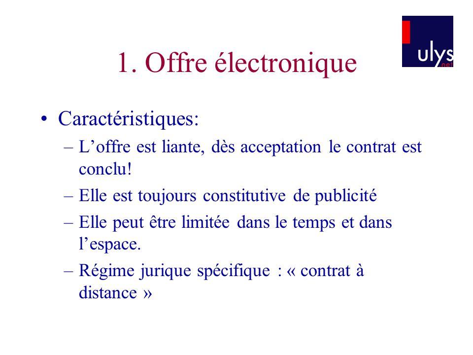 Caractéristiques: –Loffre est liante, dès acceptation le contrat est conclu! –Elle est toujours constitutive de publicité –Elle peut être limitée dans