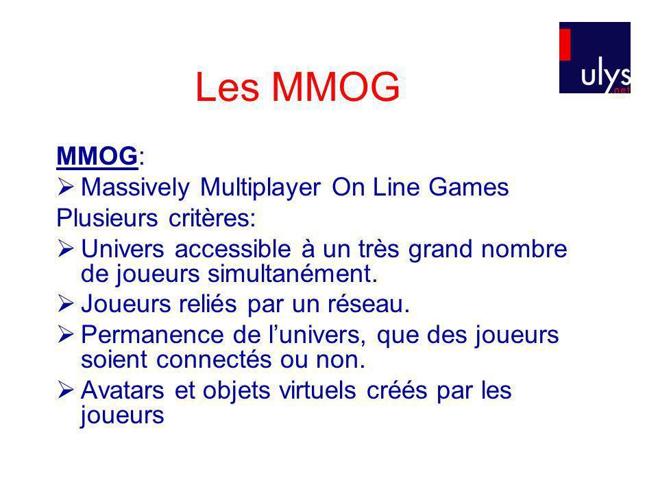 Les MMOG MMOG: Massively Multiplayer On Line Games Plusieurs critères: Univers accessible à un très grand nombre de joueurs simultanément.