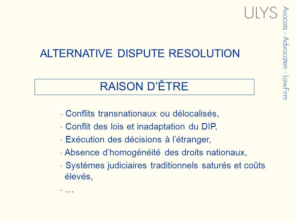 3 TITRE RAISON DÊTRE ALTERNATIVE DISPUTE RESOLUTION - Conflits transnationaux ou délocalisés, - Conflit des lois et inadaptation du DIP, - Exécution d