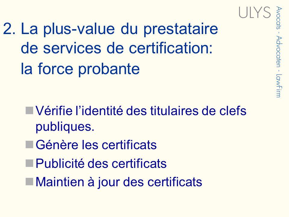 2. La plus-value du prestataire de services de certification: la force probante Vérifie lidentité des titulaires de clefs publiques. Génère les certif