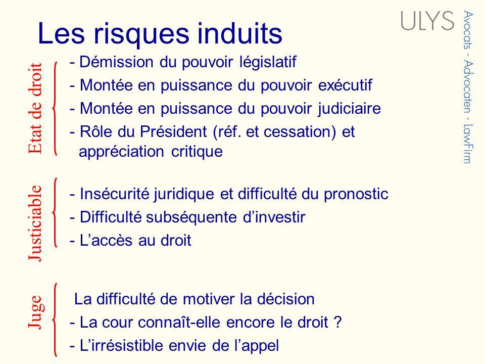 Les risques induits - Démission du pouvoir législatif - Montée en puissance du pouvoir exécutif - Montée en puissance du pouvoir judiciaire - Rôle du
