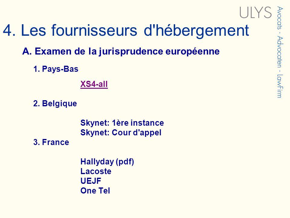 4. Les fournisseurs d'hébergement A. Examen de la jurisprudence européenne 1. Pays-Bas XS4-all 2. Belgique Skynet: 1ère instance Skynet: Cour d'appel