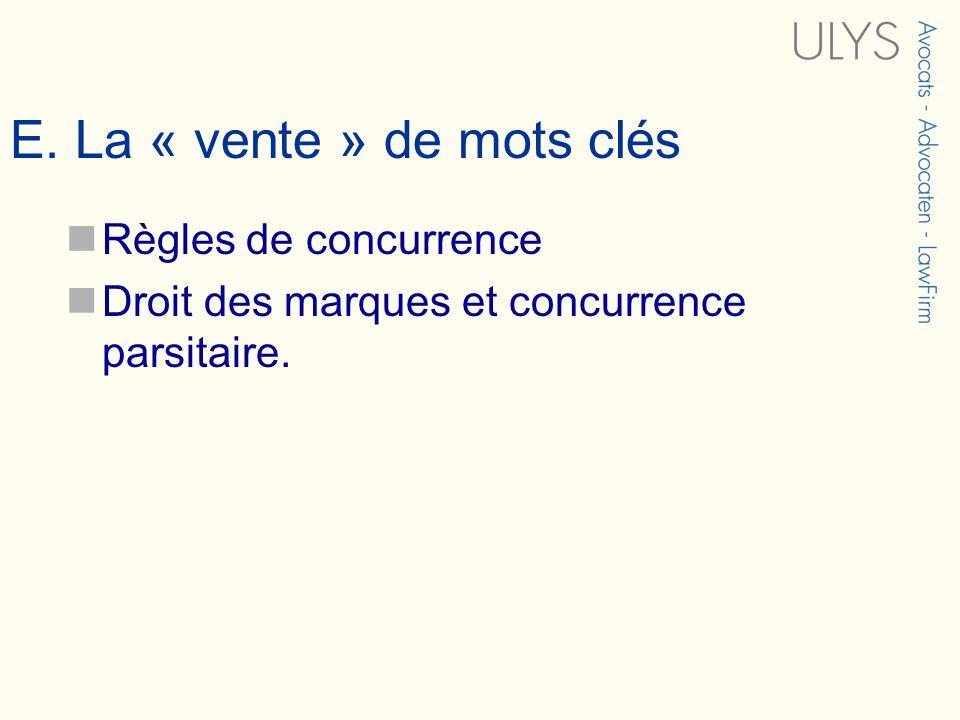 E. La « vente » de mots clés Règles de concurrence Droit des marques et concurrence parsitaire.