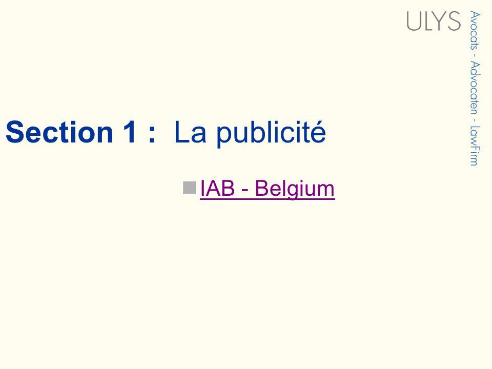 Section 1 : La publicité IAB - Belgium