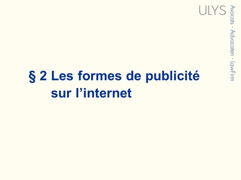 § 2 Les formes de publicité sur linternet