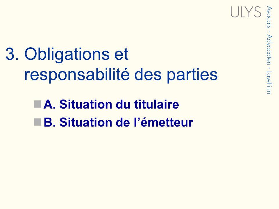 3. Obligations et responsabilité des parties A. Situation du titulaire B. Situation de lémetteur