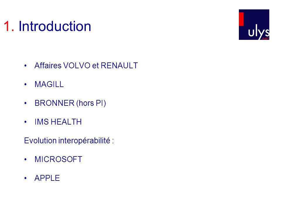 1. Introduction Affaires VOLVO et RENAULT MAGILL BRONNER (hors PI) IMS HEALTH Evolution interopérabilité : MICROSOFT APPLE