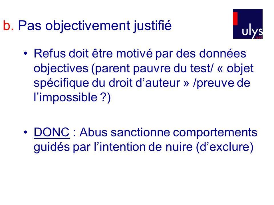 b. Pas objectivement justifié Refus doit être motivé par des données objectives (parent pauvre du test/ « objet spécifique du droit dauteur » /preuve