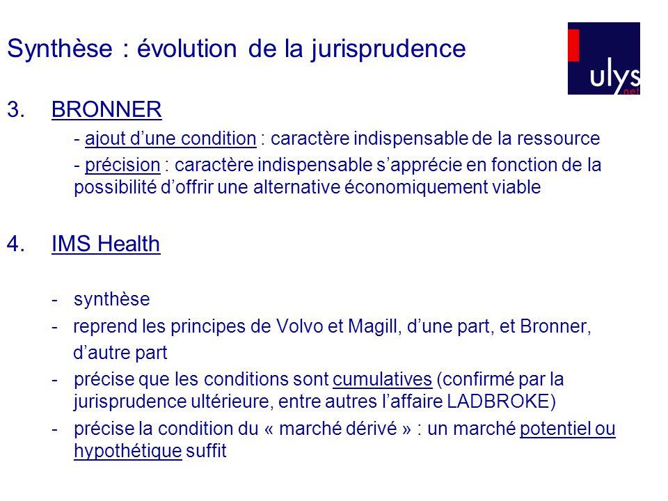 Synthèse : évolution de la jurisprudence 3.BRONNER - ajout dune condition : caractère indispensable de la ressource - précision : caractère indispensable sapprécie en fonction de la possibilité doffrir une alternative économiquement viable 4.IMS Health - synthèse - reprend les principes de Volvo et Magill, dune part, et Bronner, dautre part - précise que les conditions sont cumulatives (confirmé par la jurisprudence ultérieure, entre autres laffaire LADBROKE) - précise la condition du « marché dérivé » : un marché potentiel ou hypothétique suffit