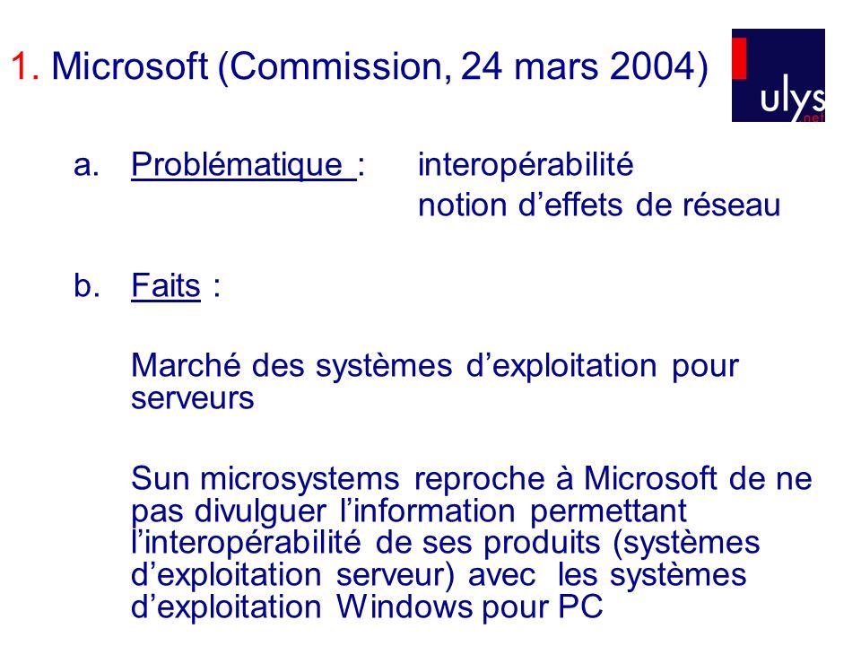 1. Microsoft (Commission, 24 mars 2004) a.Problématique : interopérabilité notion deffets de réseau b.Faits : Marché des systèmes dexploitation pour s