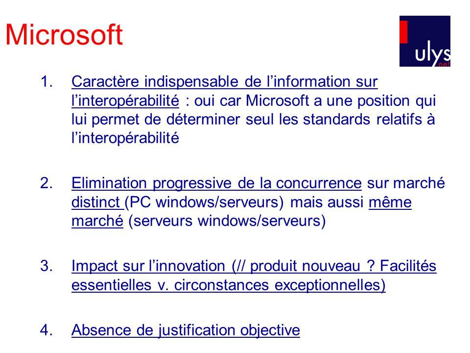 Microsoft Critère de limpact sur linnovation : Critère nouveau Les consommateurs ne choisissent plus les systèmes dexploitation des serveurs pour leurs qualités intrinsèques mais parce quils sont ou non compatible DONC consommateurs choisissent ceux de Microsoft