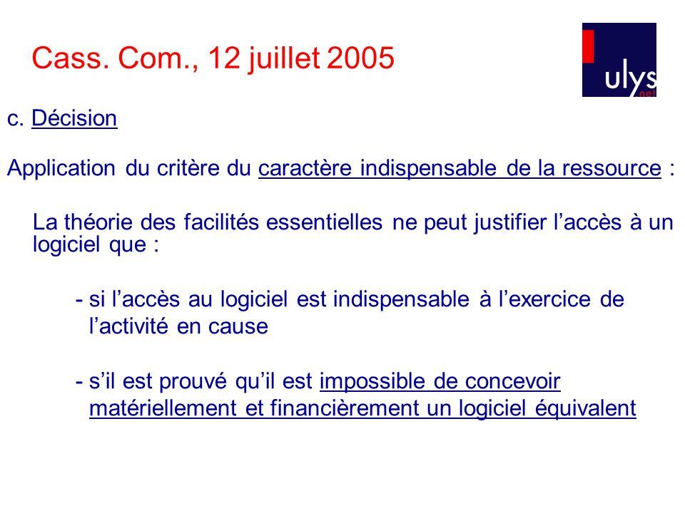 Cass. Com., 12 juillet 2005 c.