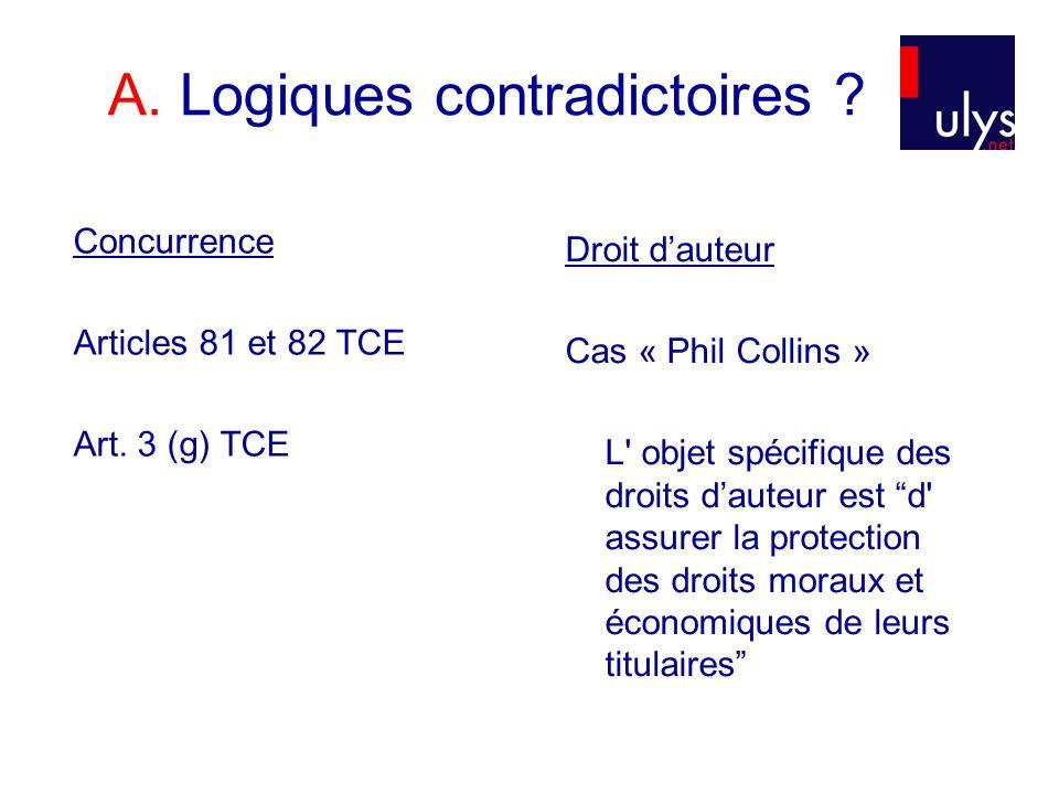 A. Logiques contradictoires . Concurrence Articles 81 et 82 TCE Art.