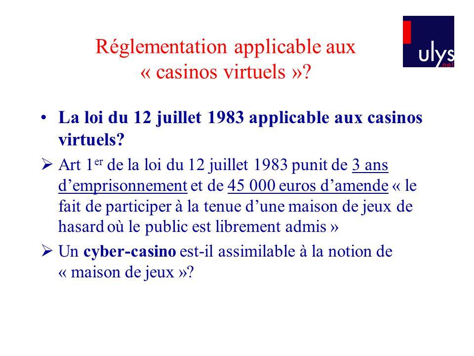Réglementation applicable aux « casinos virtuels »? La loi du 12 juillet 1983 applicable aux casinos virtuels? Art 1 er de la loi du 12 juillet 1983 p