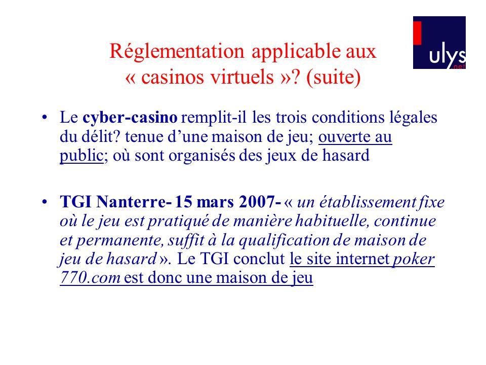 Réglementation applicable aux « casinos virtuels »? (suite) Le cyber-casino remplit-il les trois conditions légales du délit? tenue dune maison de jeu