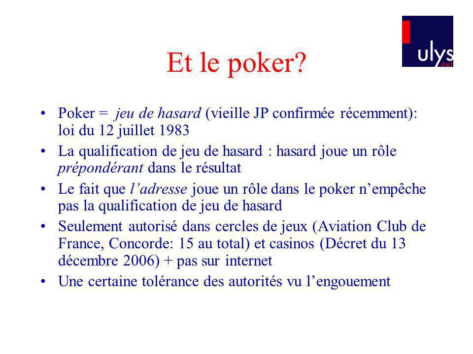 Et le poker? Poker = jeu de hasard (vieille JP confirmée récemment): loi du 12 juillet 1983 La qualification de jeu de hasard : hasard joue un rôle pr
