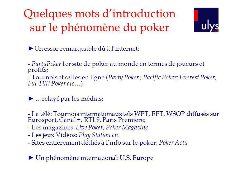 Quelques mots dintroduction sur le phénomène du poker Un essor remarquable dû à linternet: - PartyPoker 1er site de poker au monde en termes de joueur
