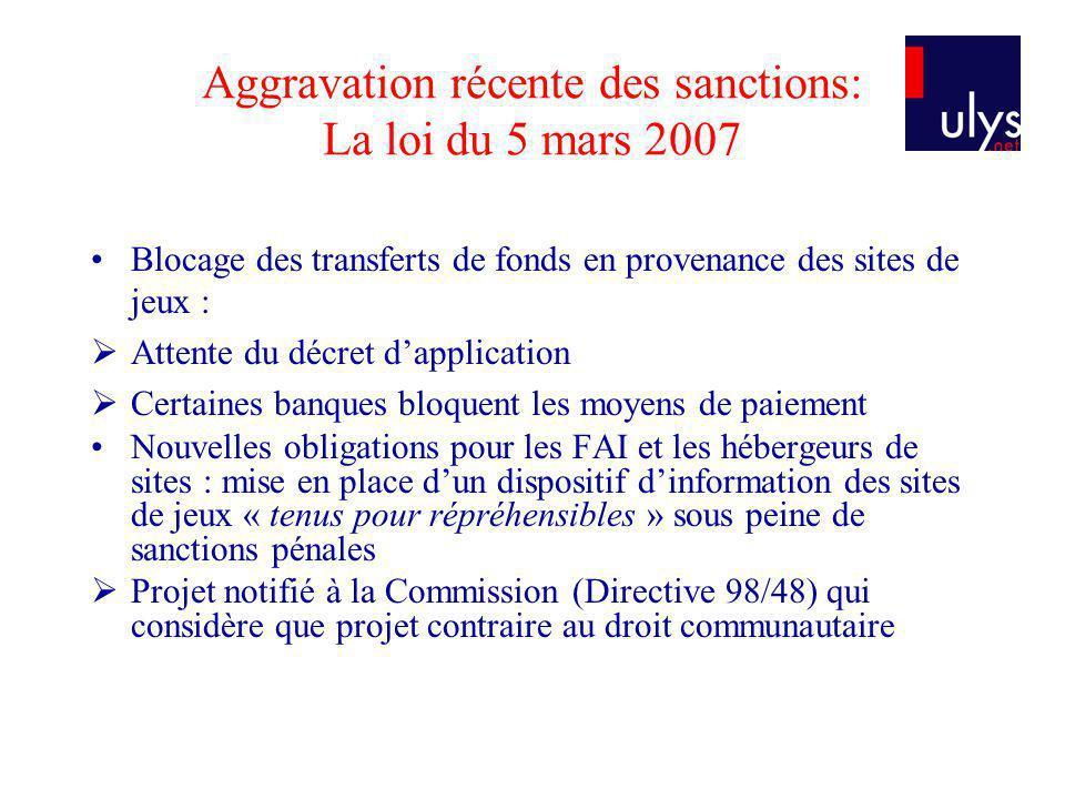 Aggravation récente des sanctions: La loi du 5 mars 2007 Blocage des transferts de fonds en provenance des sites de jeux : Attente du décret dapplicat