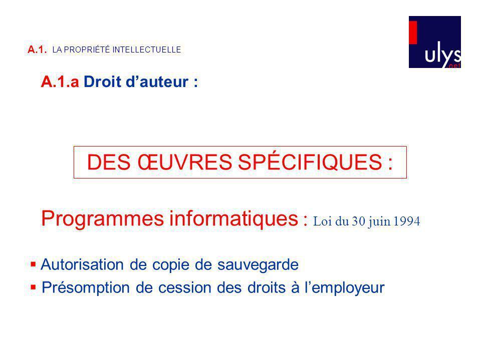 Programmes informatiques : Loi du 30 juin 1994 DES ŒUVRES SPÉCIFIQUES : Autorisation de copie de sauvegarde Présomption de cession des droits à lemployeur A.1.a Droit dauteur : A.1.