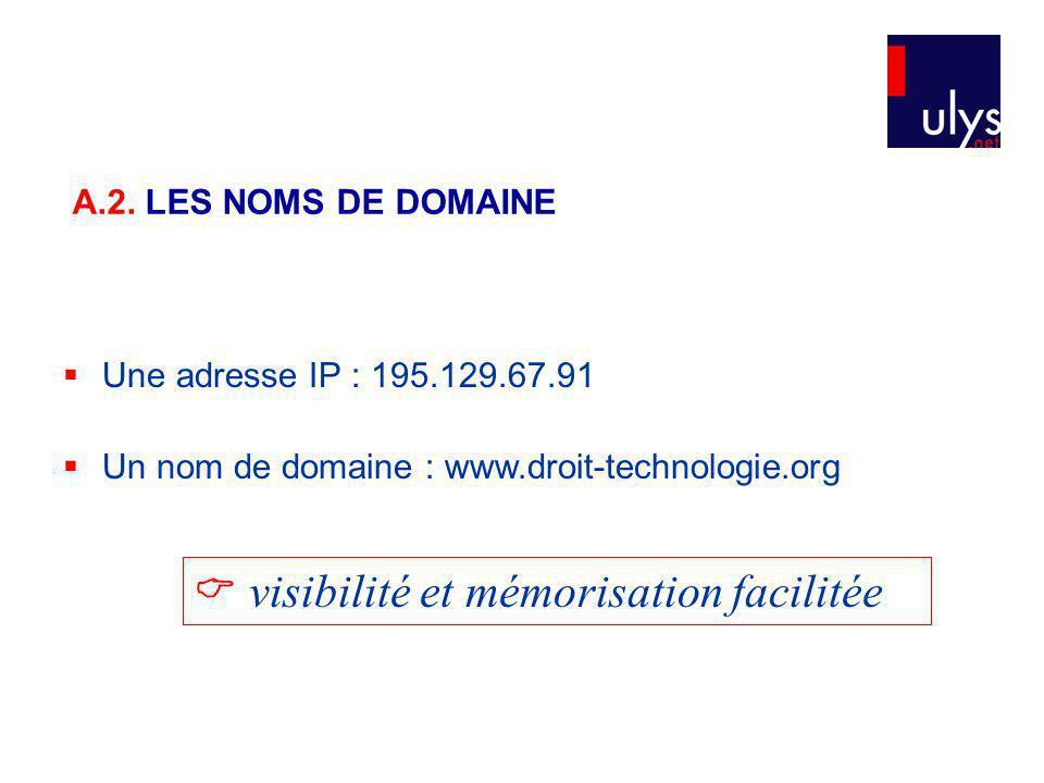 Une adresse IP : 195.129.67.91 Un nom de domaine : www.droit-technologie.org visibilité et mémorisation facilitée A.2.