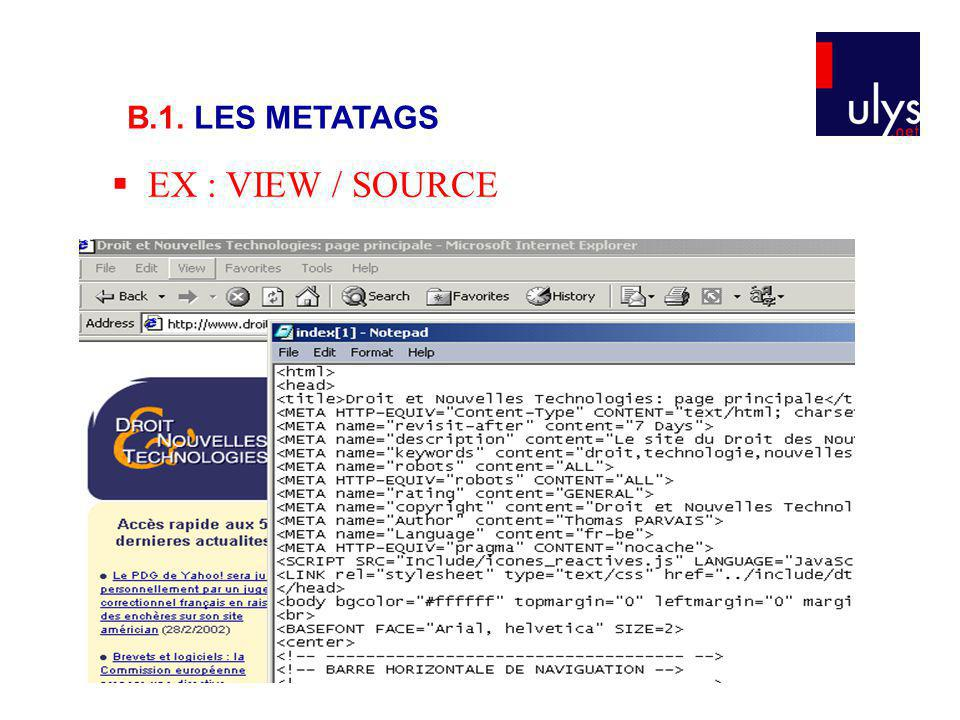 EX : VIEW / SOURCE B.1. LES METATAGS
