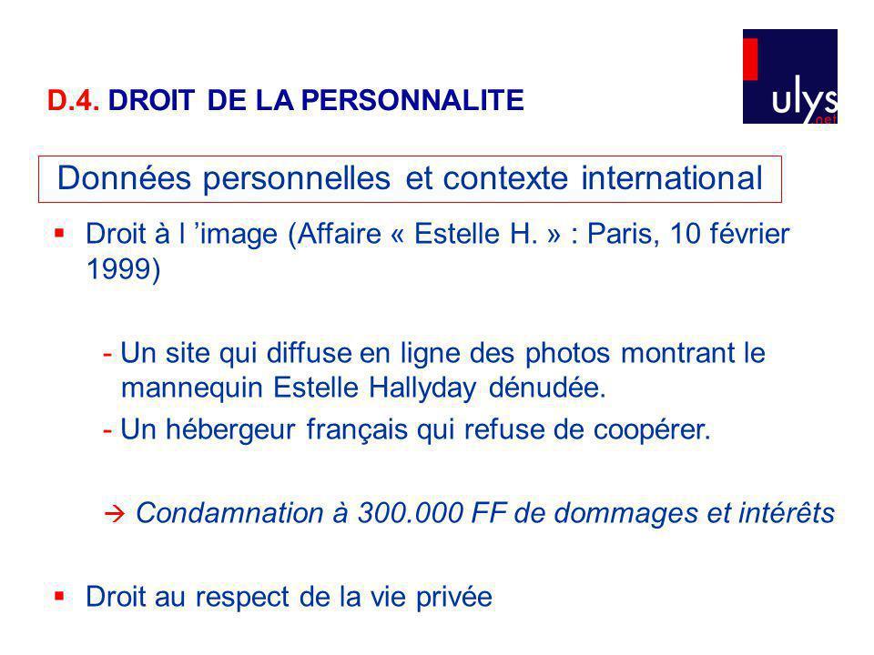 Données personnelles et contexte international Droit à l image (Affaire « Estelle H.