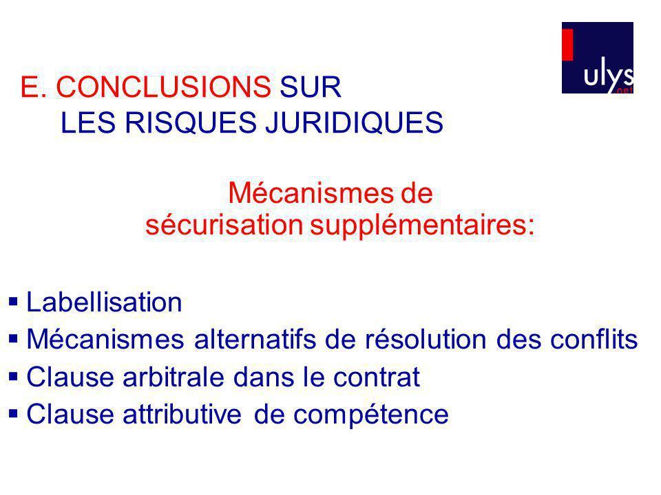 E. CONCLUSIONS SUR LES RISQUES JURIDIQUES Mécanismes de sécurisation supplémentaires: Labellisation Mécanismes alternatifs de résolution des conflits