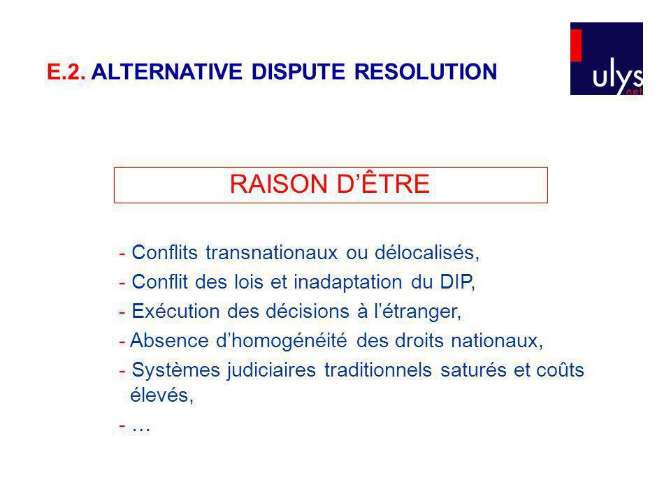 RAISON DÊTRE - Conflits transnationaux ou délocalisés, - Conflit des lois et inadaptation du DIP, - Exécution des décisions à létranger, - Absence dhomogénéité des droits nationaux, - Systèmes judiciaires traditionnels saturés et coûts élevés, - … E.2.