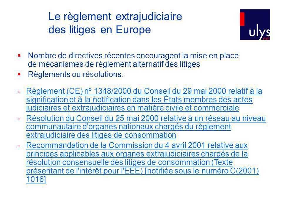 Le règlement extrajudiciaire des litiges en Europe Nombre de directives récentes encouragent la mise en place de mécanismes de règlement alternatif des litiges Règlements ou résolutions: - Règlement (CE) nº 1348/2000 du Conseil du 29 mai 2000 relatif à la signification et à la notification dans les États membres des actes judiciaires et extrajudiciaires en matière civile et commerciale Règlement (CE) nº 1348/2000 du Conseil du 29 mai 2000 relatif à la signification et à la notification dans les États membres des actes judiciaires et extrajudiciaires en matière civile et commerciale - Résolution du Conseil du 25 mai 2000 relative à un réseau au niveau communautaire d organes nationaux chargés du règlement extrajudiciaire des litiges de consommationRésolution du Conseil du 25 mai 2000 relative à un réseau au niveau communautaire d organes nationaux chargés du règlement extrajudiciaire des litiges de consommation -Recommandation de la Commission du 4 avril 2001 relative aux principes applicables aux organes extrajudiciaires chargés de la résolution consensuelle des litiges de consommation (Texte présentant de l intérêt pour l EEE) [notifiée sous le numéro C(2001) 1016]Recommandation de la Commission du 4 avril 2001 relative aux principes applicables aux organes extrajudiciaires chargés de la résolution consensuelle des litiges de consommation (Texte présentant de l intérêt pour l EEE) [notifiée sous le numéro C(2001) 1016]