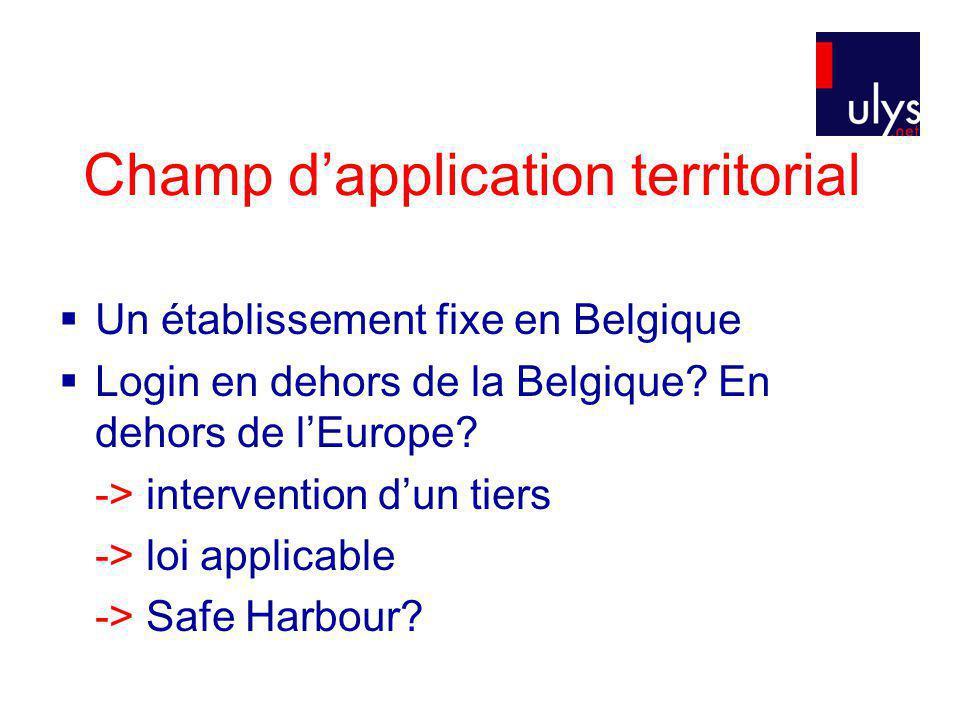 Champ dapplication territorial Un établissement fixe en Belgique Login en dehors de la Belgique.
