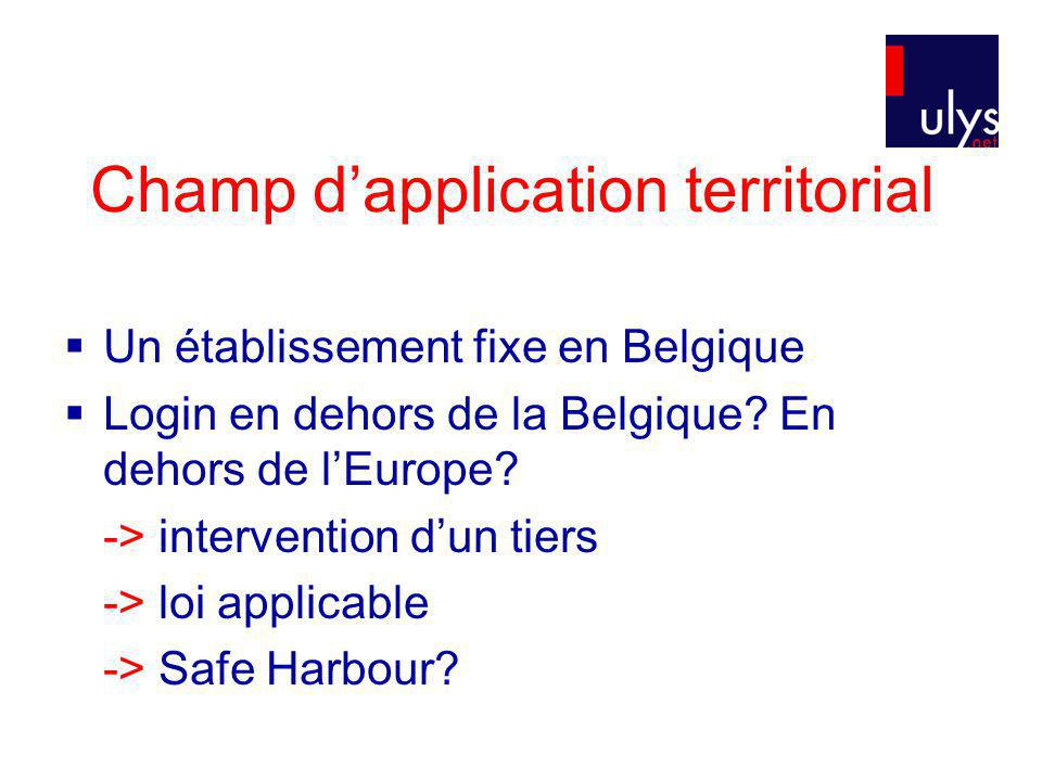 Champ dapplication territorial Un établissement fixe en Belgique Login en dehors de la Belgique? En dehors de lEurope? -> intervention dun tiers -> lo