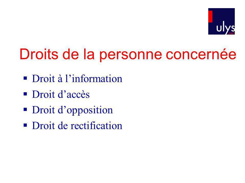 Droits de la personne concernée Droit à linformation Droit daccès Droit dopposition Droit de rectification