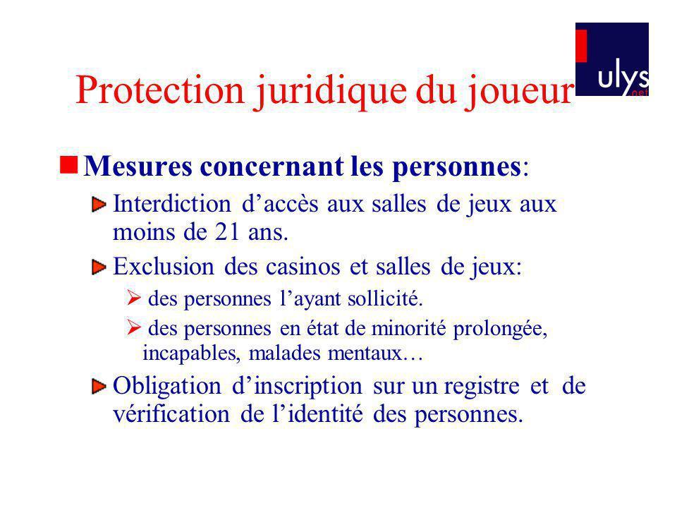 Protection juridique du joueur Mesures concernant les personnes: Interdiction daccès aux salles de jeux aux moins de 21 ans. Exclusion des casinos et
