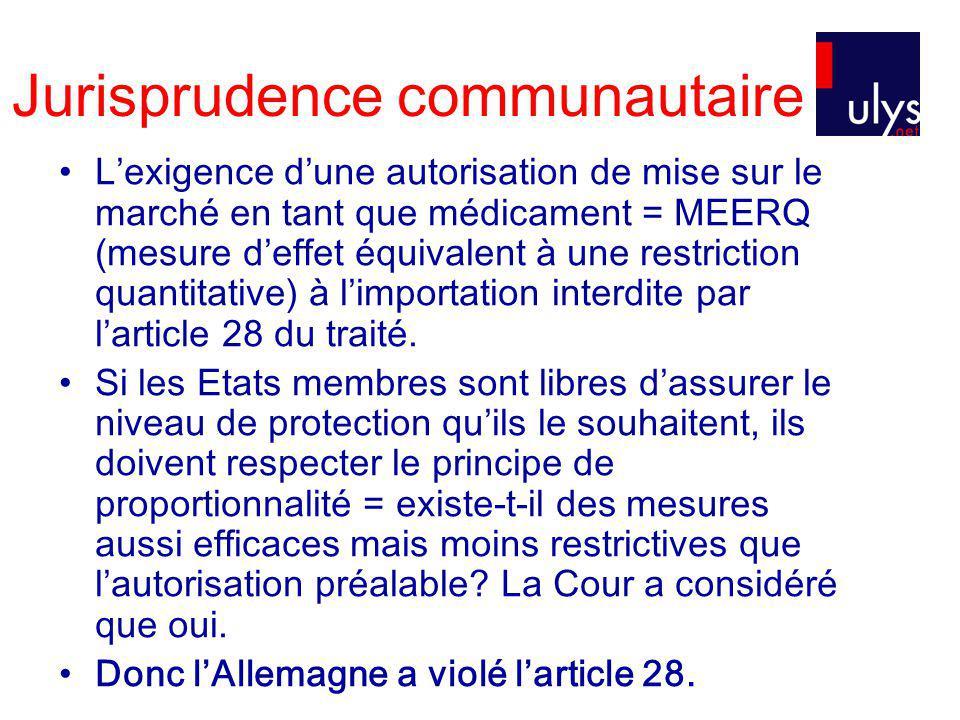 Jurisprudence communautaire Lexigence dune autorisation de mise sur le marché en tant que médicament = MEERQ (mesure deffet équivalent à une restriction quantitative) à limportation interdite par larticle 28 du traité.