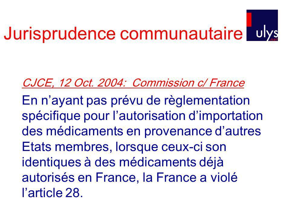 Jurisprudence communautaire CJCE, 12 Oct.