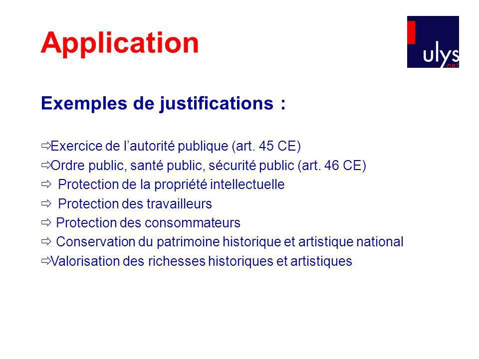 Application Exemples de justifications : Exercice de lautorité publique (art.