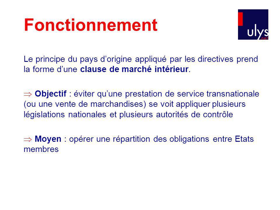 Le principe du pays dorigine appliqué par les directives prend la forme dune clause de marché intérieur.